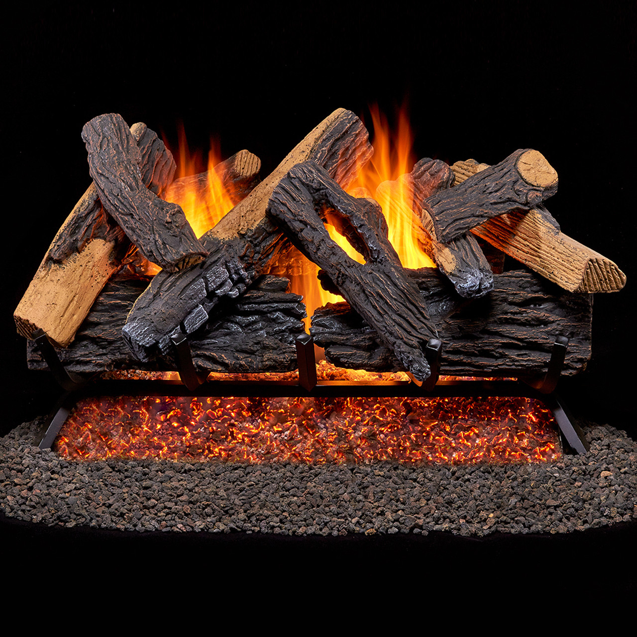 Duluth Forge Vented Natural Gas Fireplace Log Set - 24 in., 55,000 ...