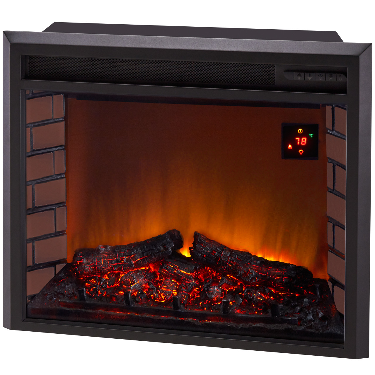 procom deluxe electric fireplace with remote control oak finish