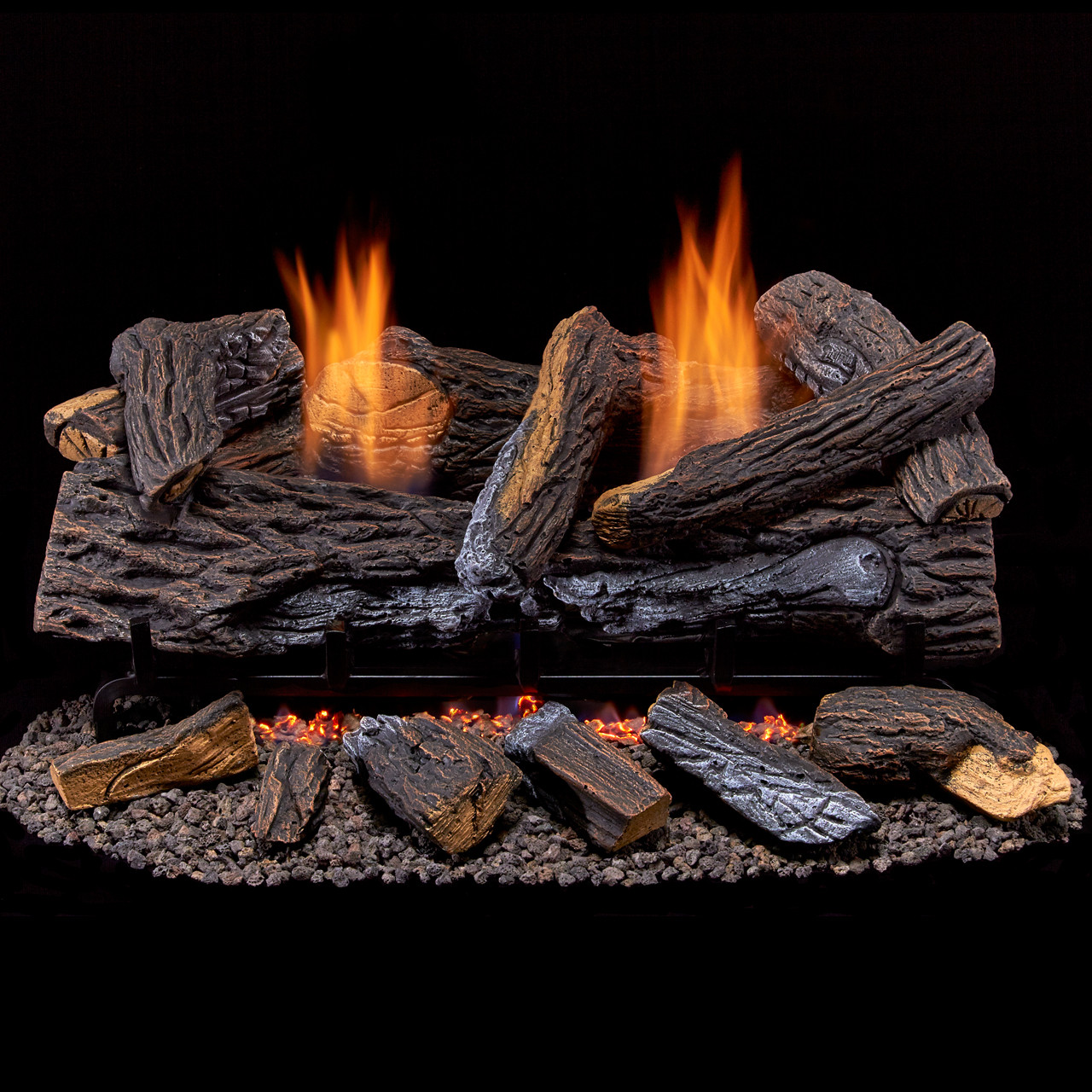Vented Gas Fireplace Log Set Dual-Burner Heater Decorative Fire Rocks 24 in.