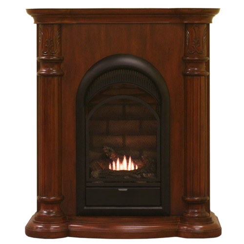 HearthSense Dual Fuel Vent Free Gas Fireplace - 15,000 BTU, Classic Cherry