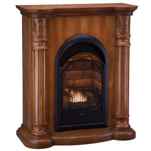 HearthSense Dual Fuel Vent Free Gas Fireplace - 15,000 BTU, Light Maple