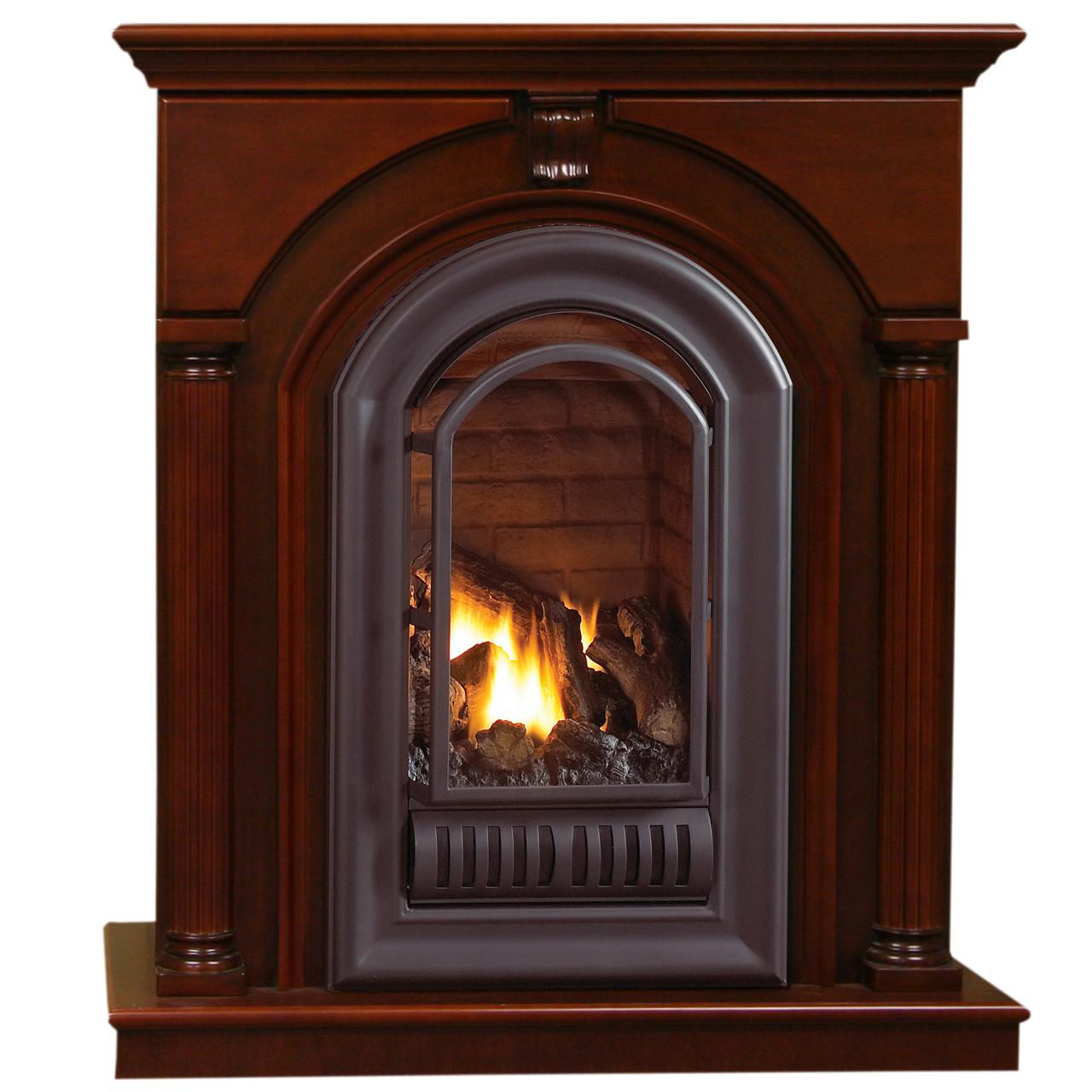Hearthsense Natural Gas Ventless Gas Fireplace 20000 Btu Cherry