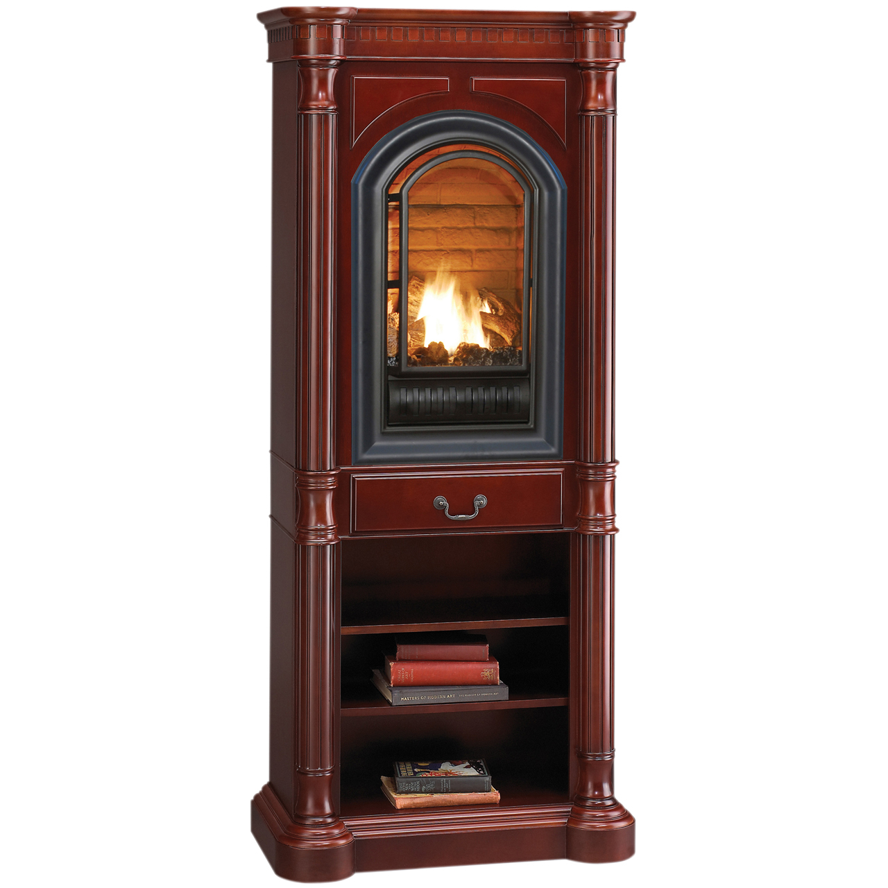 hearthsense natural gas ventless gas tower fireplace 20 000 btu cherry finish factory buys. Black Bedroom Furniture Sets. Home Design Ideas