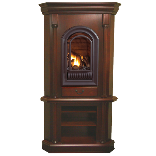 HearthSense Natural Gas Vent Free Gas Tower Corner Fireplace- 20,000 BTU, Cherry Finish