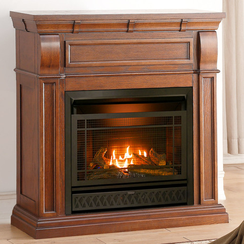 ProCom Dual Fuel Ventless Gas Fireplace - 26,000 BTU, T-Stat Control, Chestnut Oak Finish (170096)