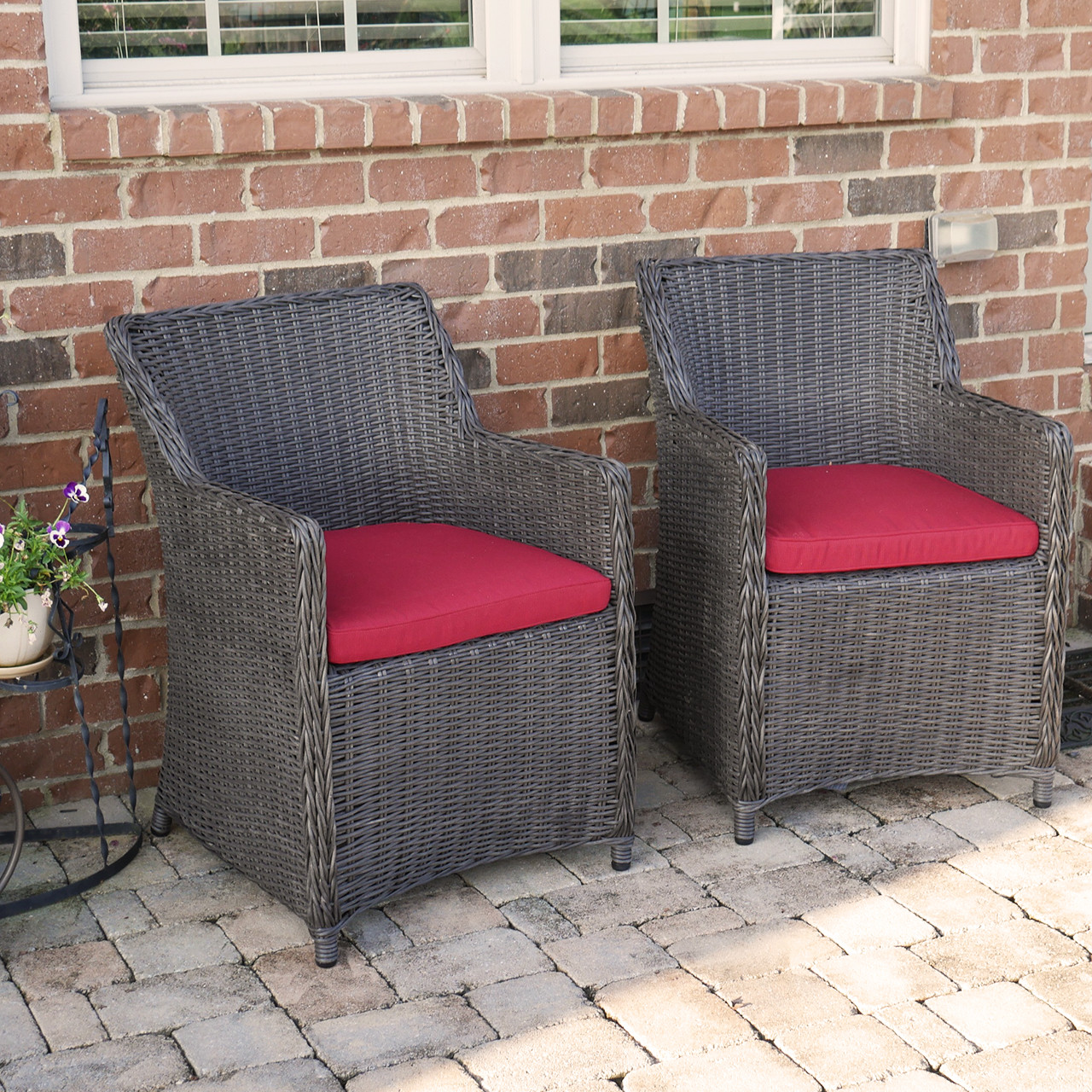 Wicker Patio Chair Set & Sea Island Wicker Patio Lounge Chair Set With Red Cushion - Set of 2 ...