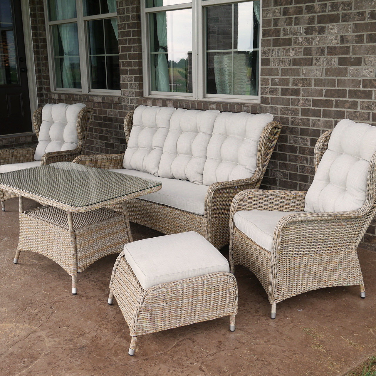 Charleston Way 5-Piece Outdoor Wicker Patio Sofa Set With ... on 5 Piece Sectional Patio Set id=29880