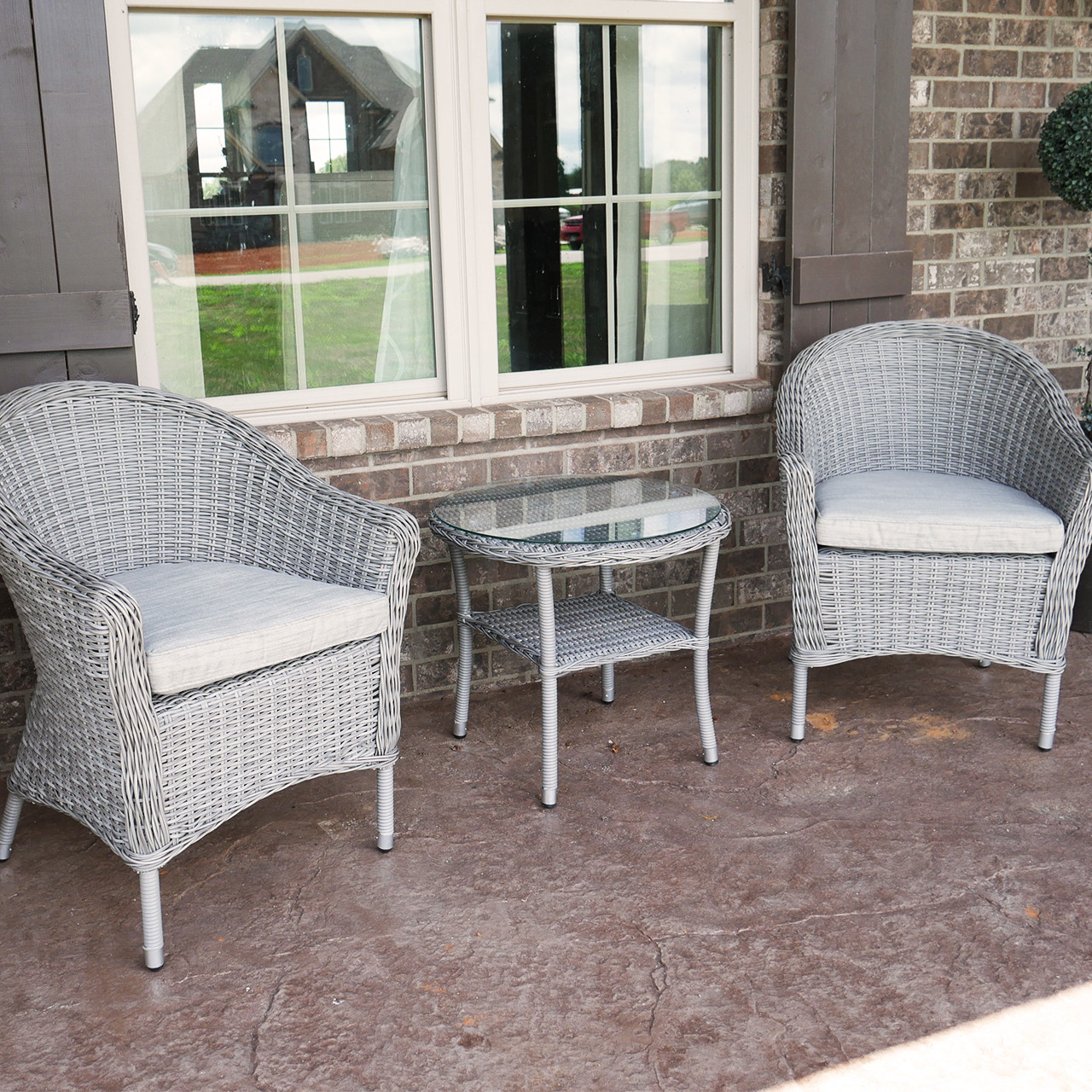 Pleasant Bay 3 Piece Outdoor Wicker Patio Bistro Set With Table