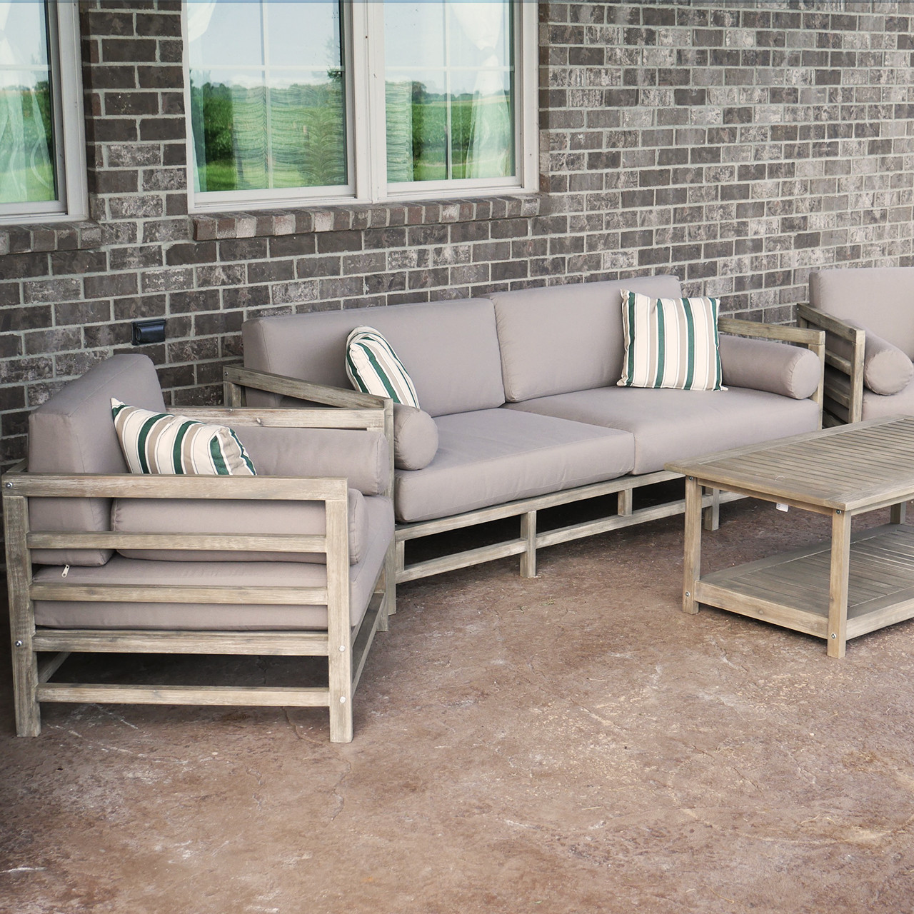 Grand Haven 4-Piece Acacia Wood Outdoor Patio Sofa Set With Table