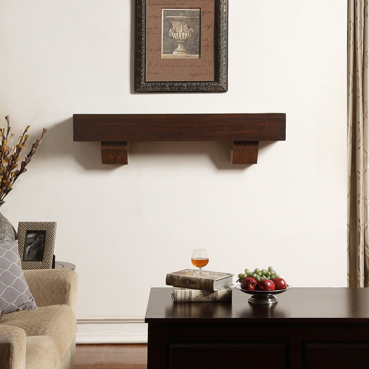 Duluth Forge 48 Inch Fireplace Shelf Mantel With Corbels Chocolate