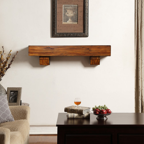 Duluth Forge Fireplace Shelf Mantel in Brown With Corbels