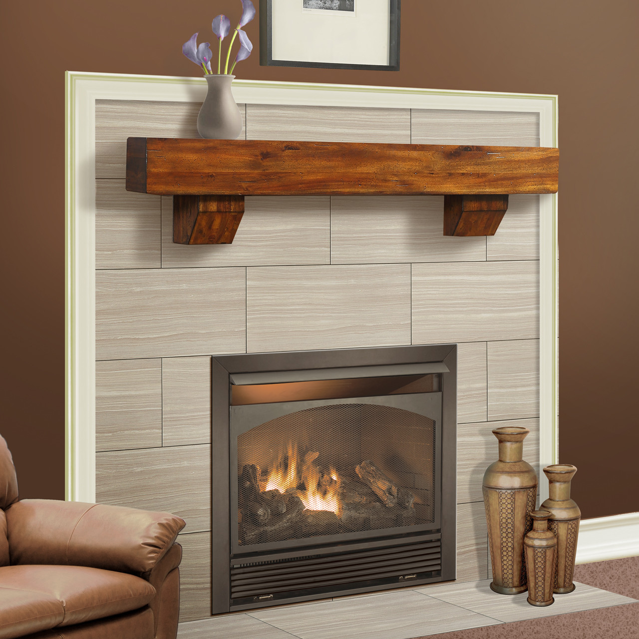Duluth Forge 60 Inch Fireplace Shelf Mantel With Corbels   Brown Finish