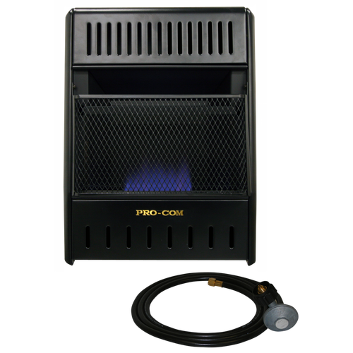 This heater is factory reconditioned by ProCom in the USA to perform like new! ProCom's Blue Flame Vent-Free Ice House heater makes keeping warm in the outdoors quick and easy. Just push a button for easy ignition, stand back and enjoy a great source of dependable, affordable heat. Includes 10 foot hose with regulator specifically designed for a 20 lb. propane cylinder which makes this heater ideal for ice fishing or hunting shacks.