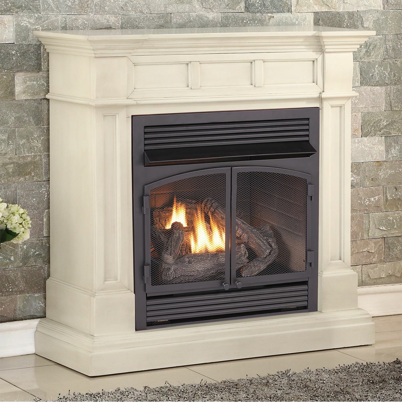 Duluth forge dual fuel vent free fireplace at 32000 btu with remote control antique white