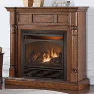 Duluth Forge Full Size Dual Fuel Vent Free Fireplace at 32,000 BTU with Remote Control, Walnut Finish