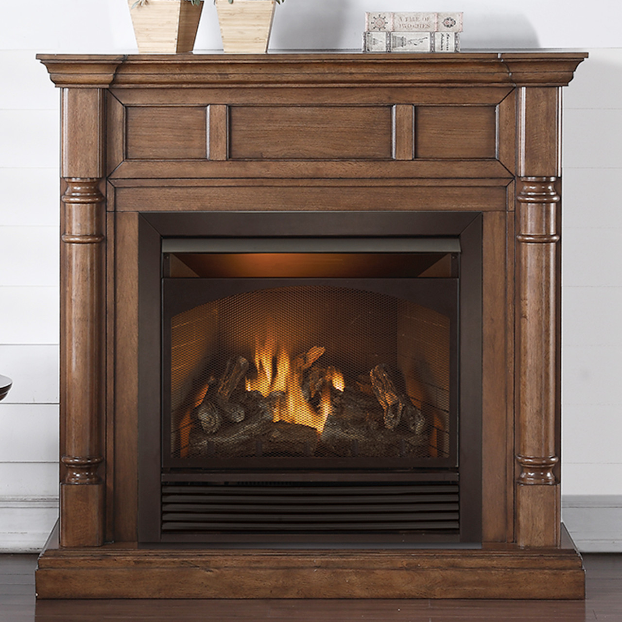 Duluth Forge Full Size Dual Fuel Ventless Fireplace   32,000 BTU, Remote  Control, Walnut Finish