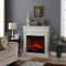 Duluth Forge Full Size Electric Fireplace with Remote Control in Antique White Finish
