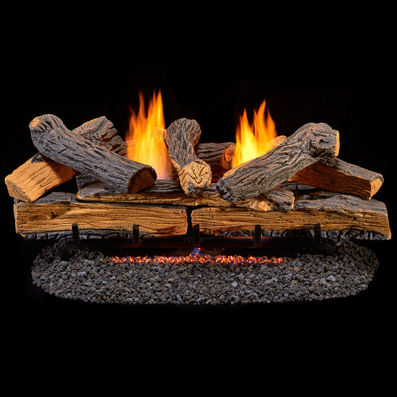 Duluth Forge Ventless Propane Gas Log Set 30 In Split Red Oak Manual Control Factory Buys Direct