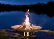 Fire Pit Art Bella Vita Fire Pit at night by the lake