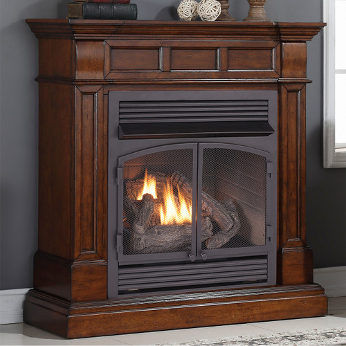 Duluth Forge Dual Fuel Vent Free Fireplace at 32,000 BTU with Remote Control, Auburn Cherry Finish
