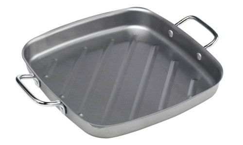"""Bull BBQ Non-Stick Square Grill Pan / 11"""" - Silver Color"""