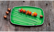 Bull BBQ Rosewood Handle Double Prong Skewers / Set 4