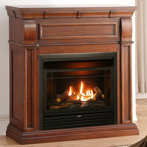 Duluth Forge Dual Fuel Ventless Fireplace - 26,000 BTU, T-Stat Control, Chestnut Oak Finish (170129)