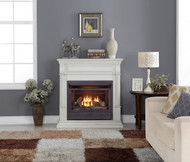 Duluth Forge Dual Fuel Ventless Gas Fireplace - 26,000 BTU, T-Stat Control, Antique White Finish (170130)