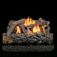 "Lost River Ventless Dual Fuel Gas Log Set - 24"" Traditional Oak, Remote Control - 32,000 BTU"