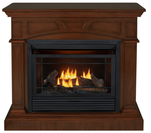 Duluth Forge Dual Fuel Ventless Gas Fireplace - 26,000 BTU, Remote Control, Heritage Cherry Finish - Front