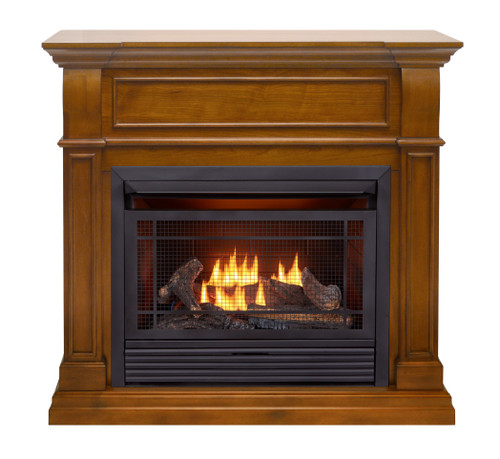 Duluth Forge Dual Fuel Ventless Gas Fireplace - 26,000 BTU, Remote Control, Apple Spice Finish