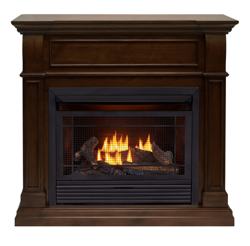 Duluth Forge Dual Fuel Ventless Gas Fireplace - 26,000 BTU, T-Stat Control, Walnut Finish (170155)