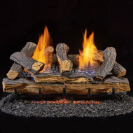 Duluth Forge Ventless Propane Gas Log Set - 24 in. Split Red Oak 33,000 BTU, Manual Control