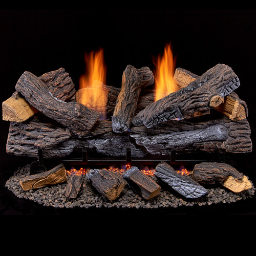 Duluth Forge Ventless Natural Gas Log Set - 30 in. Stacked Red Oak - 33,000 BTU - Manual Control (210074)