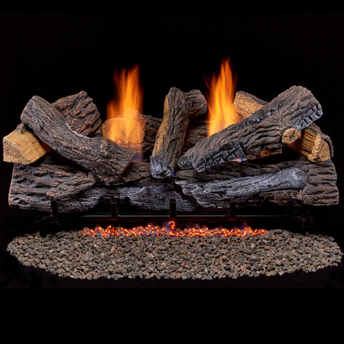 Duluth Forge Ventless Dual Fuel Log Set - 30 in. Stacked Red Oak - 33,000 BTU - T-Stat Control (210076)