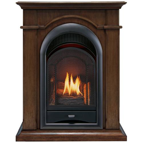 ProCom Ventless Gas Fireplace, Dual Fuel, Vent Free with Mantel - 15,000 BTU