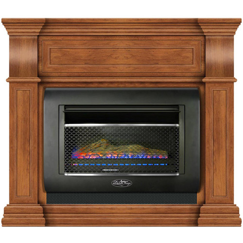 Duluth Forge Mini Hearth Ventless Gas Wall Fireplace - 26,000 BTU, T-Stat Control, Toasted Almond Finish, Model#: DF300L-M-TA (170175)