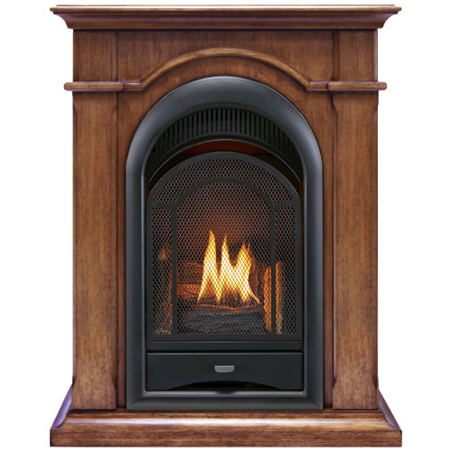 ProCom FS100T-AS Ventless Fireplace System 10K BTU Duel Fuel Thermostat Insert and Apple Spice Mantel