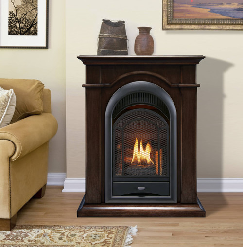 ProCom FS100T-CH Ventless Fireplace System 10K BTU Duel Fuel Thermostat Insert and Chocolate Mantel (170190)