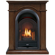 ProCom FS100T-W Ventless Fireplace System 10K BTU Duel Fuel Thermostat Insert and Walnut Mantel