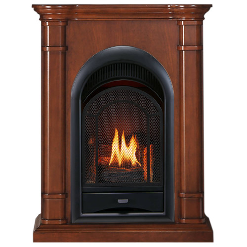 ProCom FS100T-3AS Ventless Fireplace System 10K BTU Duel Fuel Thermostat Insert and Apple Spice Mantel (170193)
