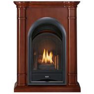 ProCom FS100T-3W Ventless Fireplace System 10K BTU Duel Fuel Thermostat Insert and Walnut Mantel (170194)