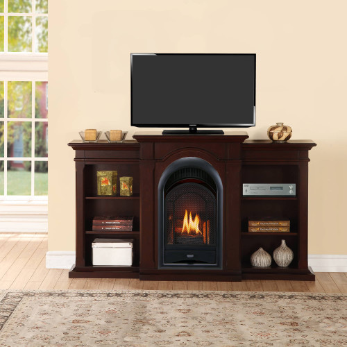 ProCom FS100T-CBS Ventless Fireplace System 10K BTU Duel Fuel Thermostat Insert and Choclate Mantel with Shelves