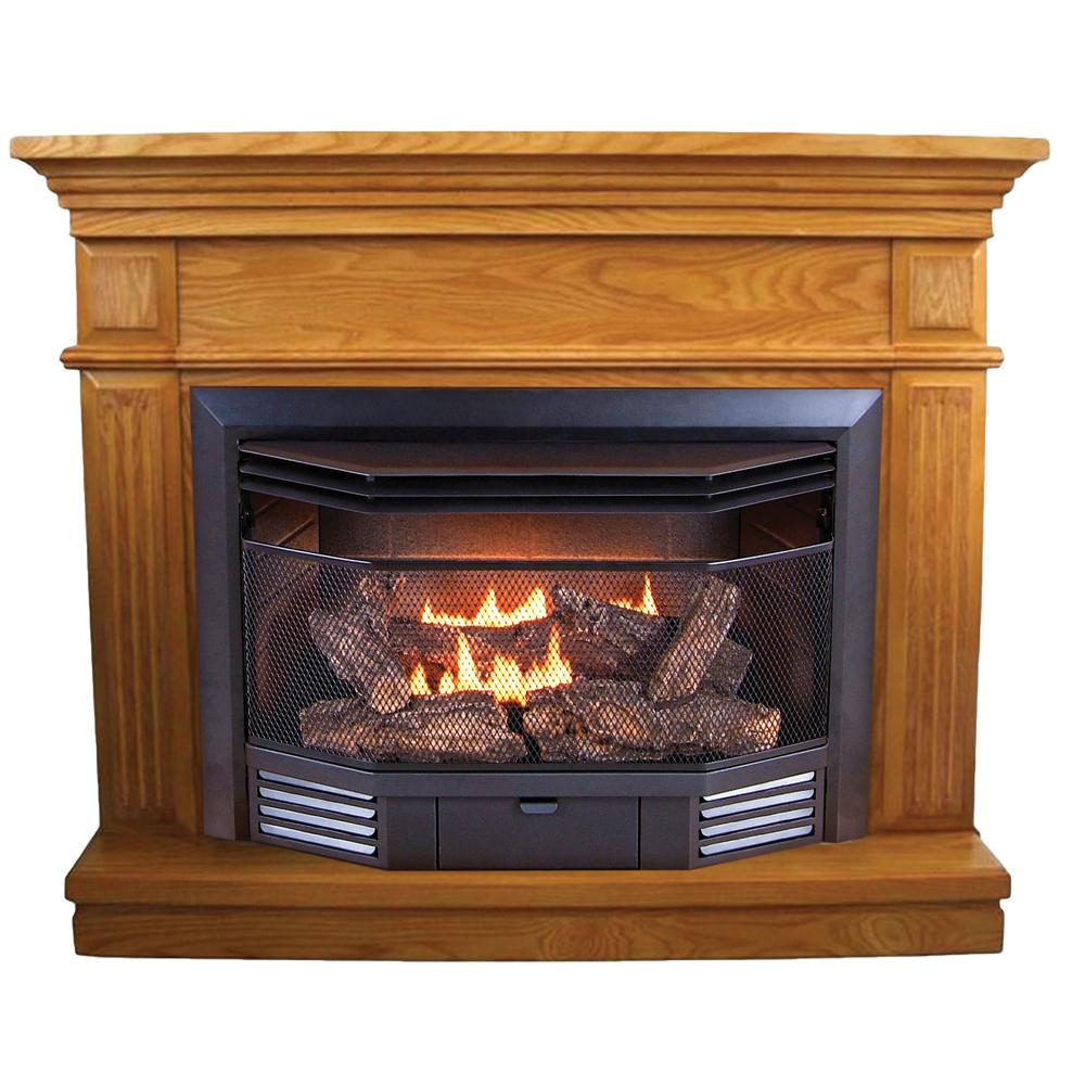Procom Dual Fuel Ventless Fireplace With Corner Conversion Kit