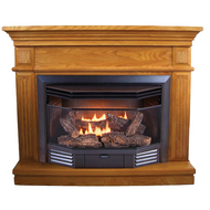 ProCom Dual Fuel Ventless Fireplace with Corner Conversion Kit - 23,000 BTU, Light Oak, Model# BD23TCC-2-LO