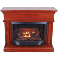 ProCom Dual Fuel Ventless Fireplace with Corner Conversion Kit - 23,000 BTU, Heritage Cherry, Model# BD23TCC-7-HC
