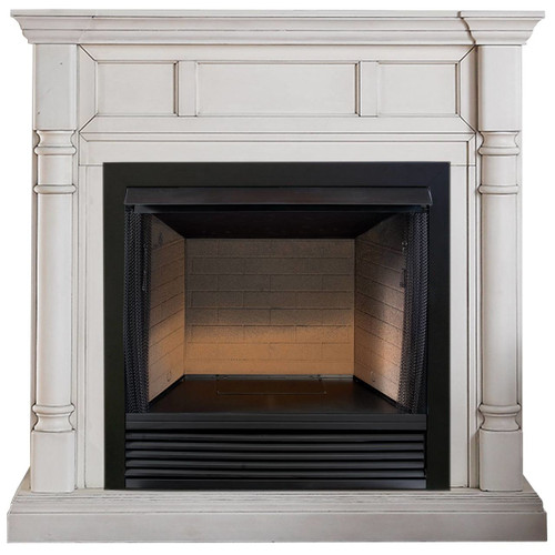 ProCom FBS32-500-2AW, 32in Ventless Fireplace Firebox PC32VFC with CM500-2AW Antique White Mantel (170198)