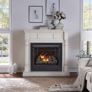 Duluth Forge FDI32R-M-AW Full Size Dual Fuel Ventless Fireplace - 32,000 BTU, Remote Control, Antique White Finish (179200)