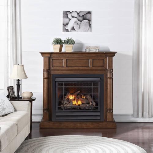 Duluth Forge FDI32R-M-WN Full Size Dual Fuel Ventless Fireplace - 32,000 BTU, Remote Control, Walnut Finish (179201)