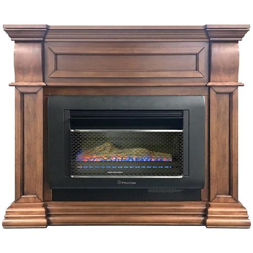 ProCom Mini Hearth Ventless Gas Wall Fireplace - 26,000 BTU, T-Stat Control, Toasted Almond Finish, Model# MH30TBFL-M-TA (170265)